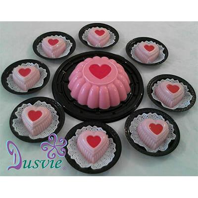 Gelatinas de corazones rosas