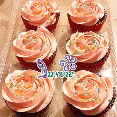 Cupcakes de chocolate con rosas