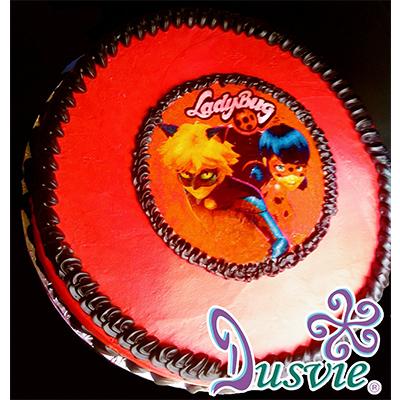 Pastel decorado con imagen de ladybug comestible en oblea