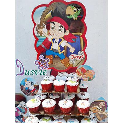 Cupcaes con imagen comestible de jake y los piratas en oblea